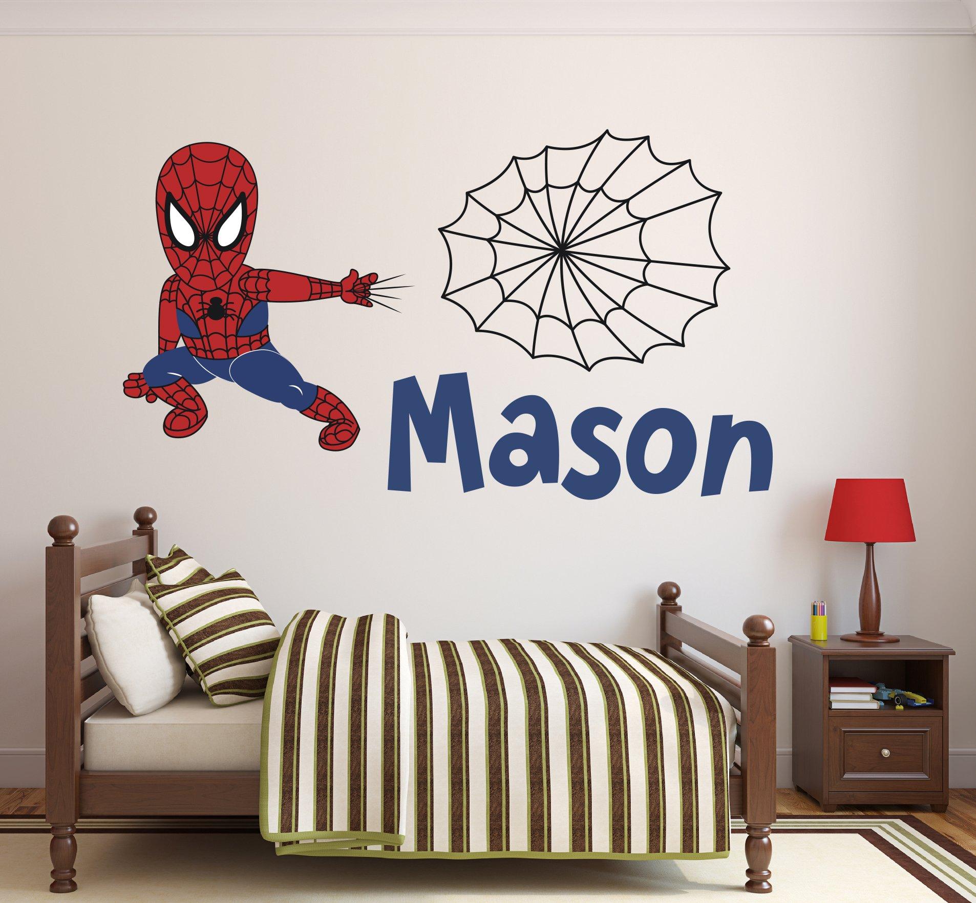 Custom Name Spiderman Wall Decal Baby Boy Kids Decor Personalized Nursery Gift Vinyl Art (42''W x 22''H)