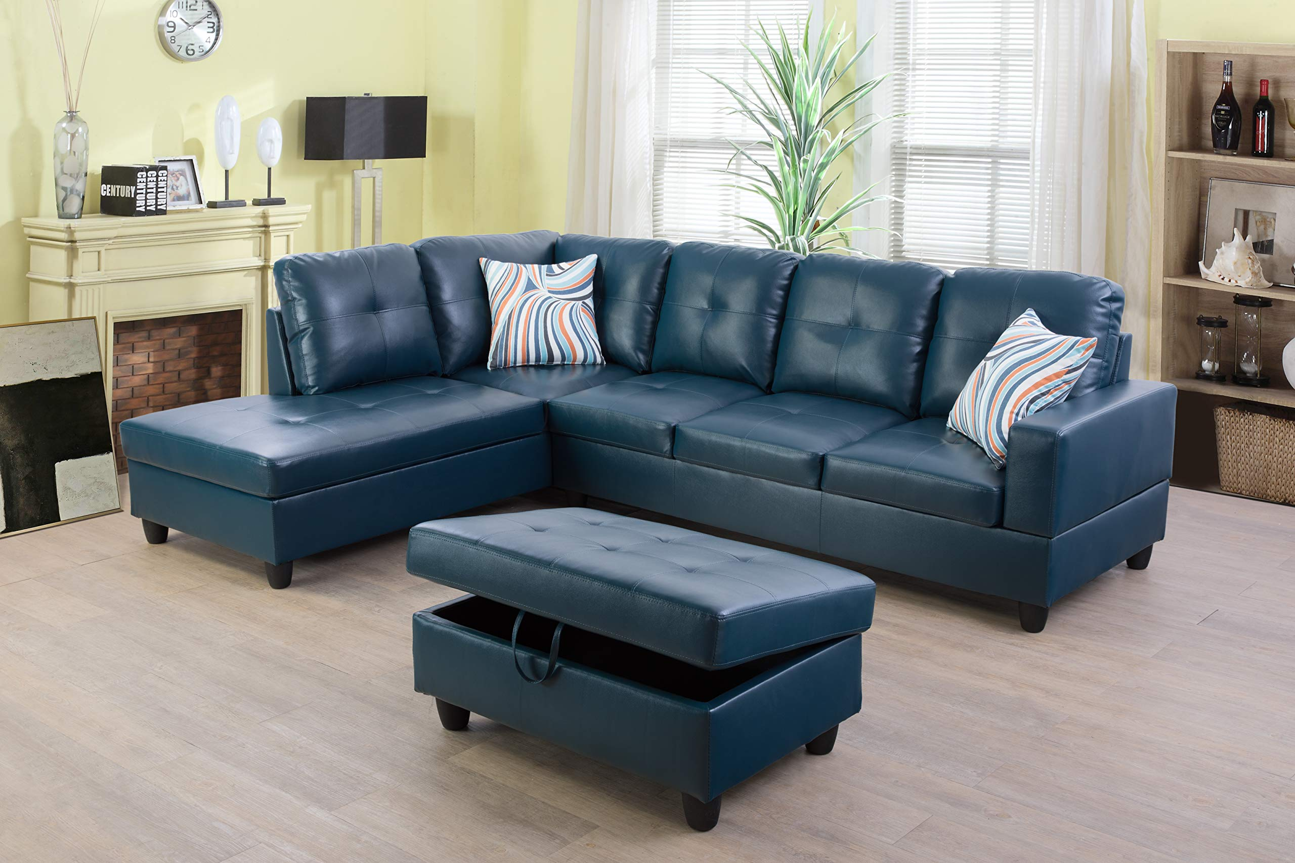 Beverly Fine Funiture Sectional Sofa Set, Turquoise by Beverly Fine Funiture