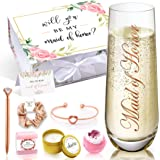 Maid of Honor Spa Gift Box, Maid of Honor Stemless Champagne Flutes, Maid of Honor Proposal, Will You Be My Maid of Honor, Br