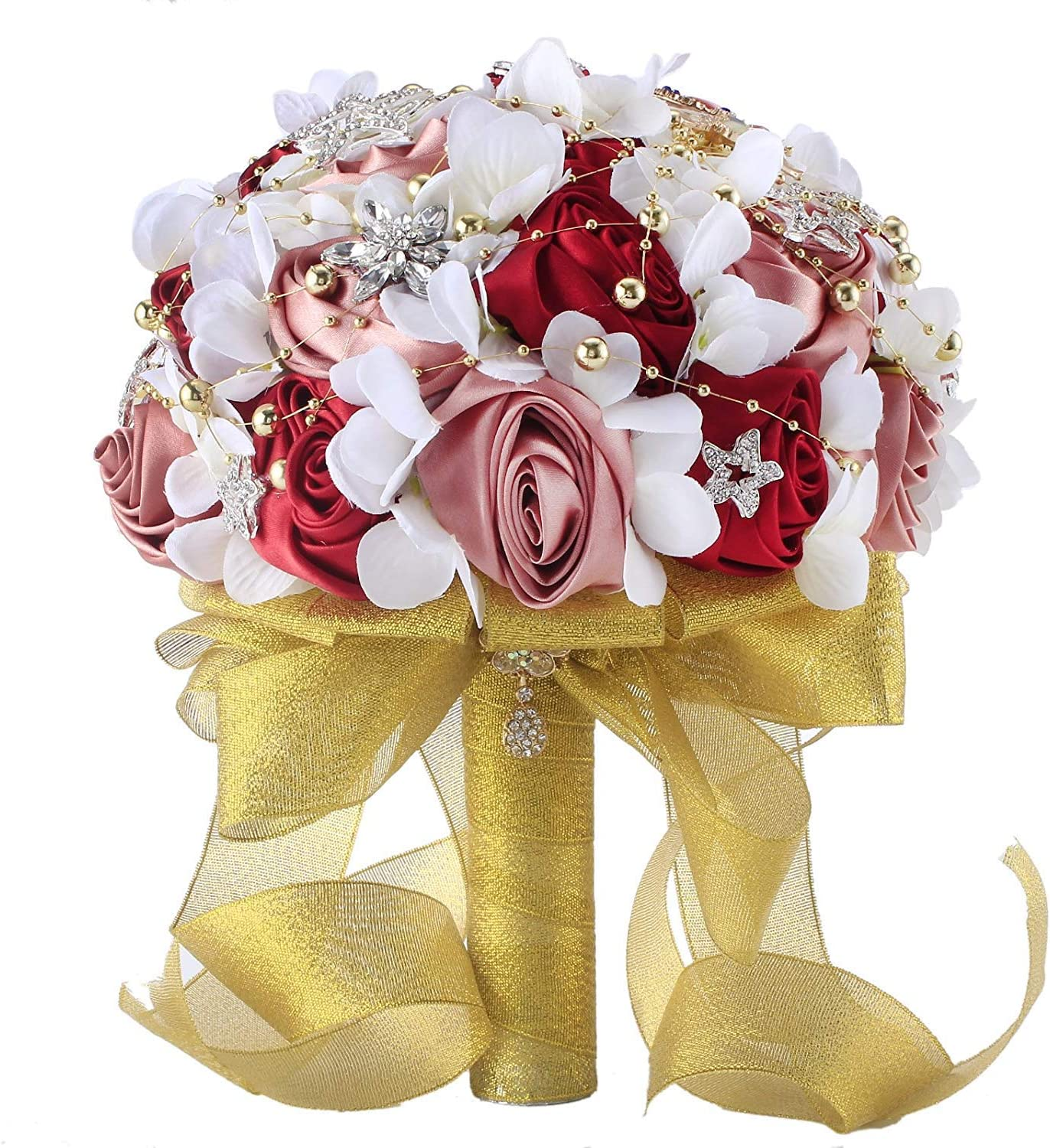 Abbie Home Silk Rose Wedding Bouquet Brooches Bridal Holding Flowers Rhinestone Décor-Burgundy+Gold