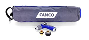 Camco 40' Coiled Water Nozzle with Adjustable Spray Pattern Kit – Hose Design Prevents Kinking and Tangling, for Car Washing and Gardening (41982)