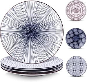 Y YHY 10 Inches Porcelain Dinner Plates, Large Serving Plate Set, Assorted Blue White Patterns, Set of 4