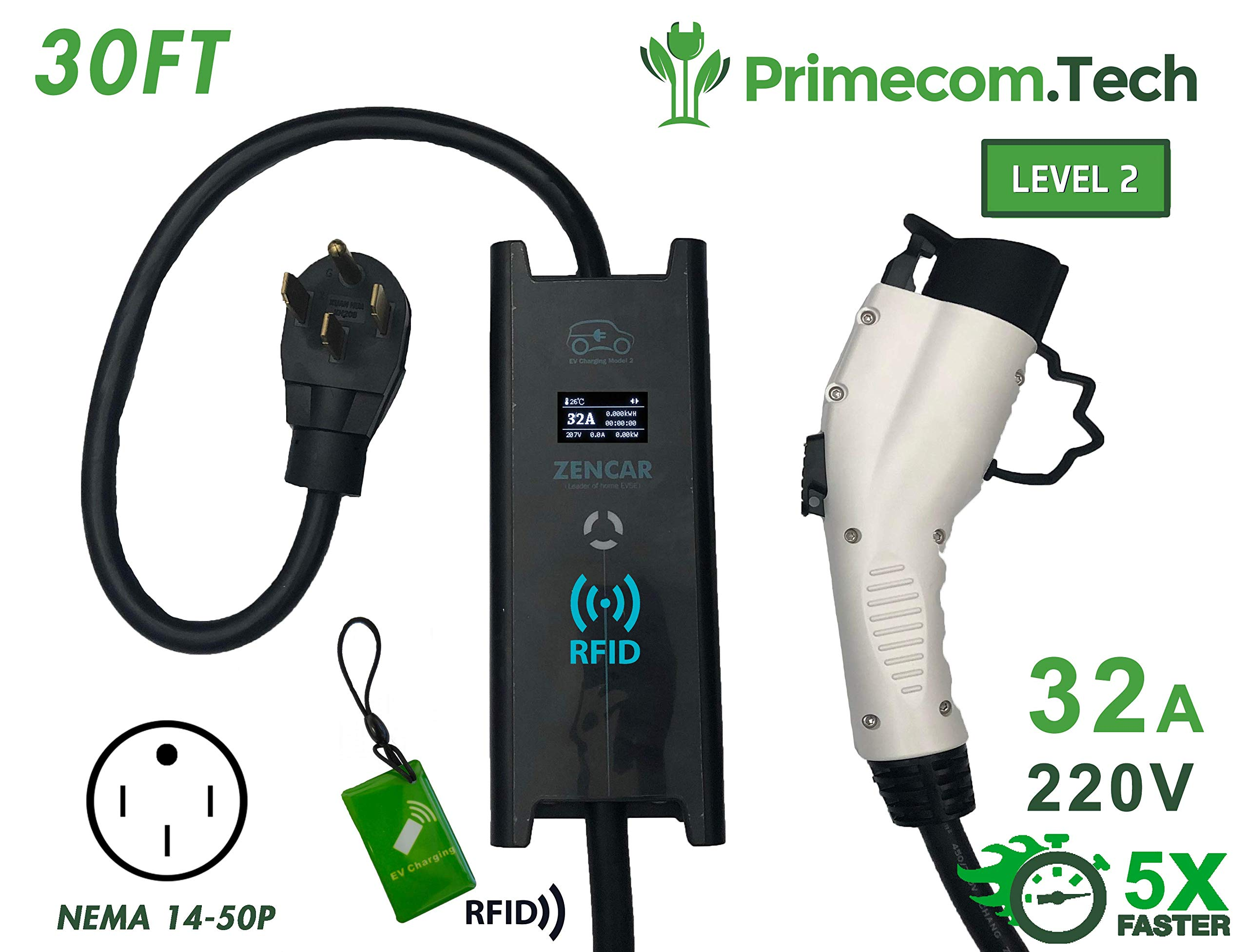 PRIMECOM 30 Feet Level 2 Electric Vehicle Charger 32 and 40 Amp 6-50P. 10-50P, 14-50P (14-50P, 32 Amp) by PRIMECOM (Image #1)