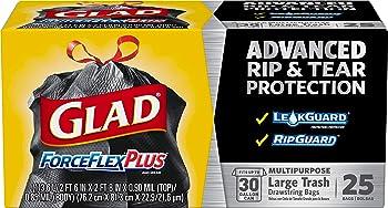 75-Count Glad ForceFlexPlus Large 30 Gal Drawstring Trash Bags