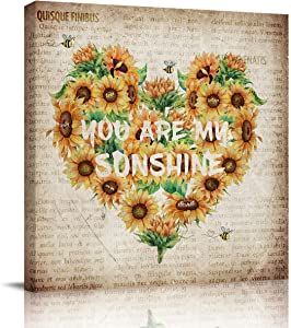 DOME-SPACE Square Canvas Wall Art Sunflower Heart Shape You are My Sunshine on Old Newspaper Print Artwork for Living Rooms Bedroom Home Decor Ready to Hang,16x16 inches