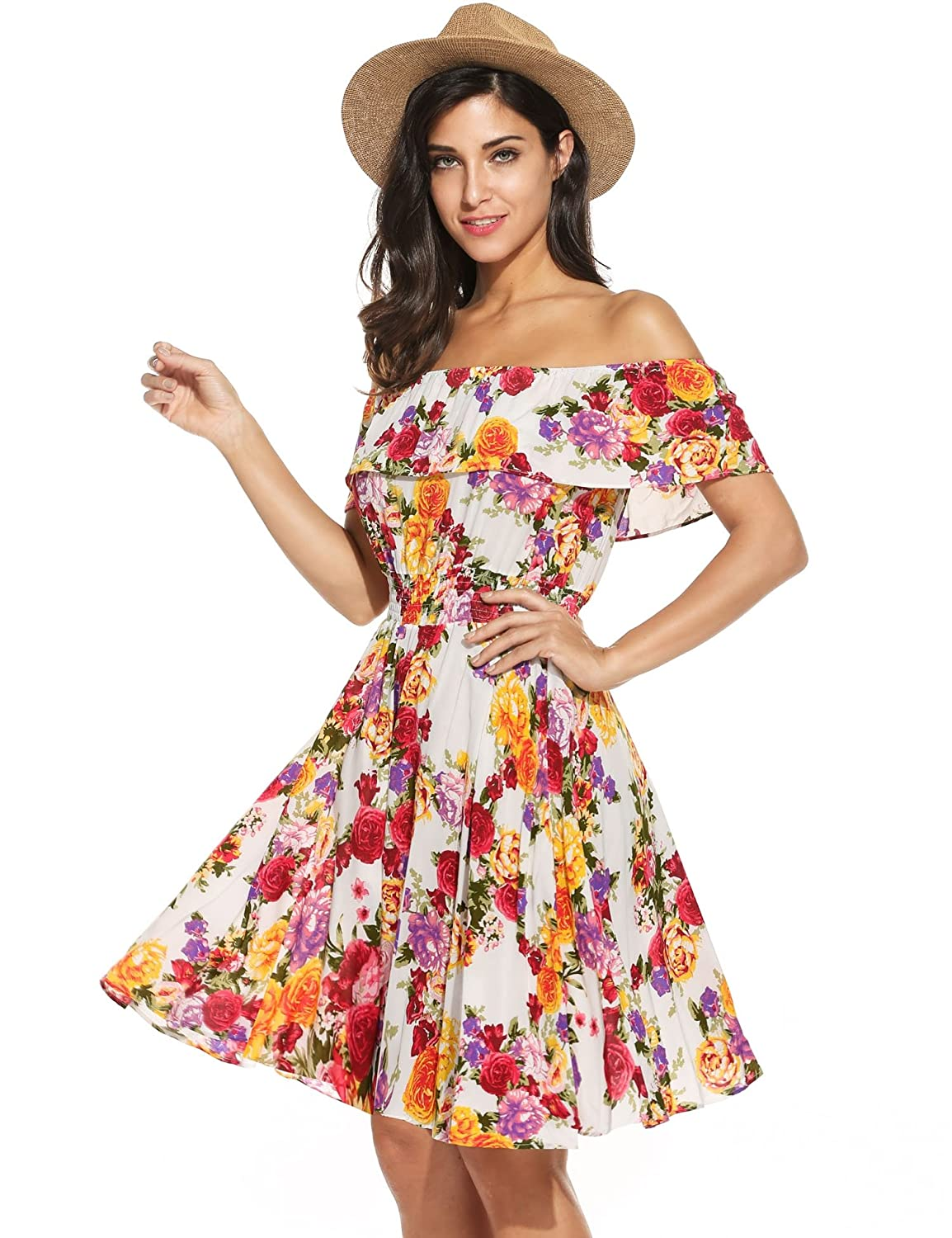 4e6c1c6578e8 Meaneor Womens Summer Floral Dress Off Shoulder Ruffle A line Swing Party  Dress