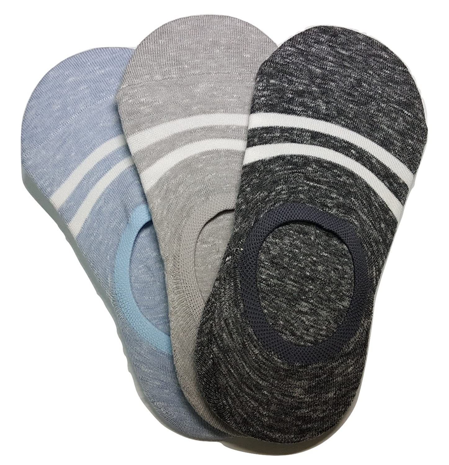 Unisex Striped Fashion No-Show Liner Socks, 3 Pairs