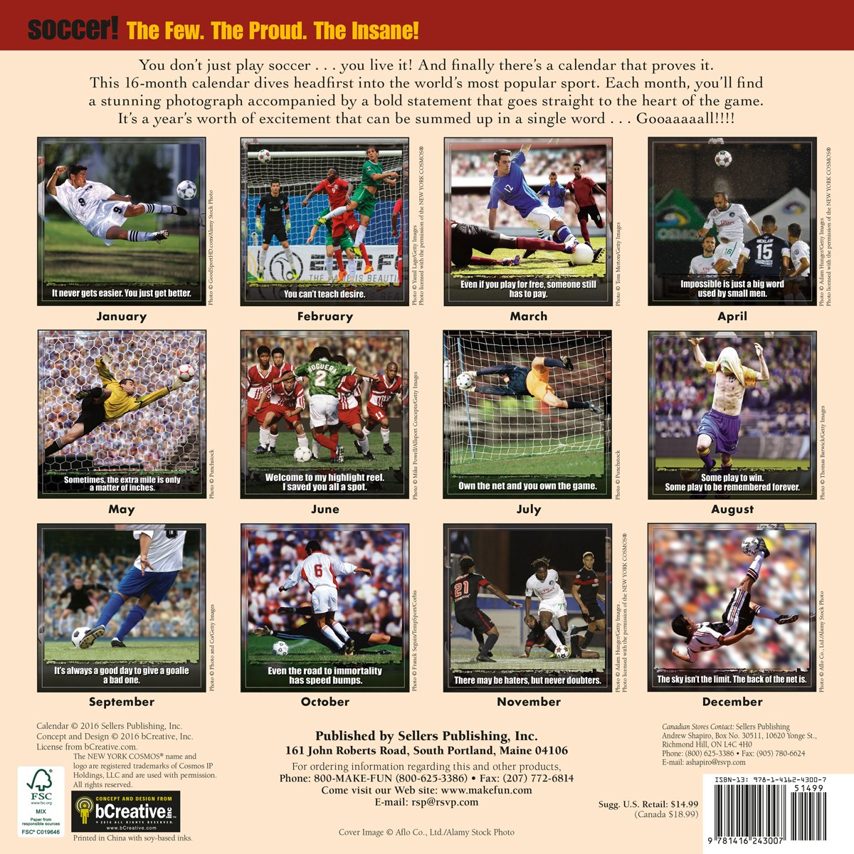 Soccer: The Original Extreme Sport 2017 Wall Calendar: bCreative:  0764453043006: Amazon.com: Books