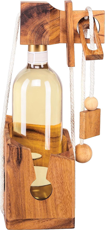 Zederello Puzle para Botellas de Madera Noble, Rompecabezas para Botellas, Envoltorio como Regalo para Botellas de Vino convencionales, Rompecabezas abrebotellas, para Botella de Vino, complicado