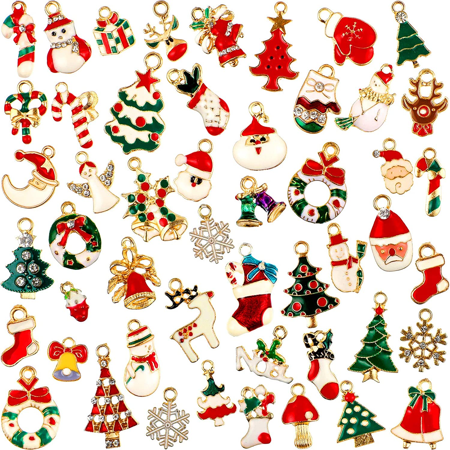 50 Pieces Christmas Pendant Charm Assorted Enamel Charm Pendant for Necklace Bracelet Jewelry Bags DIY Sewing and Making Craft Accessories