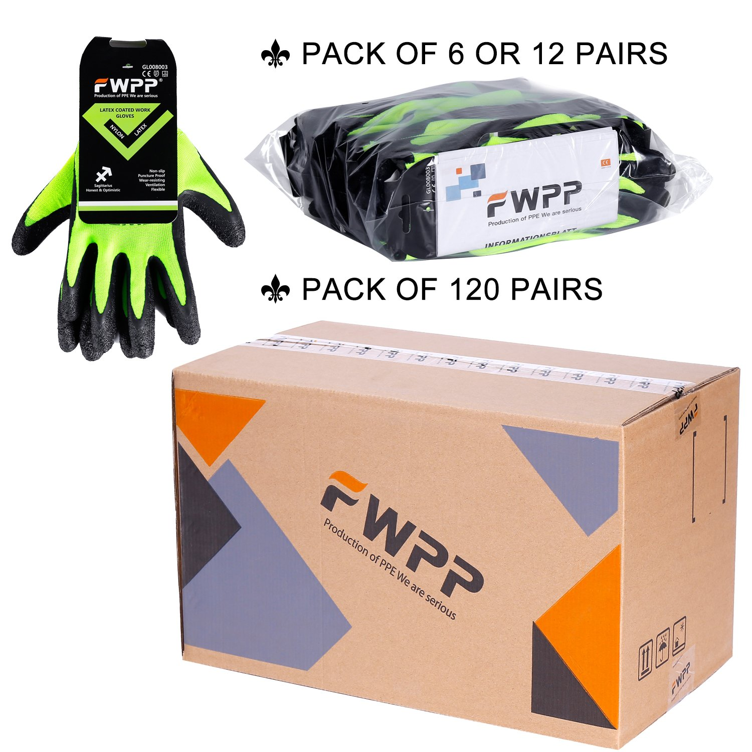 FWPP GL008003L6 Latex Coated Work Gloves Construction Gloves Pack of 6Pairs Large Fluorescence Yellow