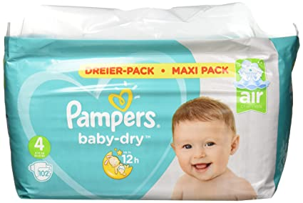PAMPERS Pañales Baby-Dry Talla 4, 102, para transpirable sequías, 1er Pack
