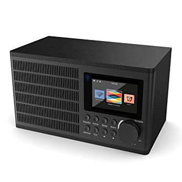Peterhouse Digital Internet Wi-Fi Radio, UPnP, AUX-in, USB Input/Charging, Alarma Doble, Snooze y timers (Negro)