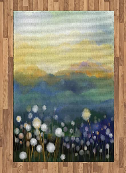 4d8b9b4a00912 Ambesonne Dandelion Area Rug, Oil Painting Effect Floral Scene and  Mountains Flowers in Meadows Spring