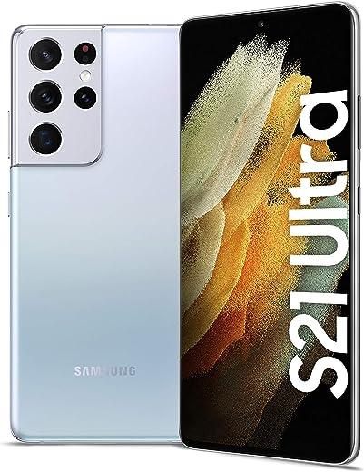 هاتف جالكسي اس 21 الترا بشريحتي اتصال من سامسونج - بذاكرة داخلية 256 جيجا، وذاكرة رام 12 جيجا، الجيل الخامس، لون فضي فانتوم