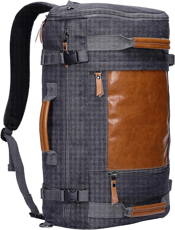 WITZMAN Men Canvas Backpack Large Travel Backpack Laptop Bag Hiking Causal Daypack Rucksack