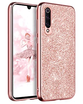 BENTOBEN Funda Xiaomi Mi 9, Funda Xiaomi 9, Purpurina Carcasa Ultra Delgada Cover Brillante Resistente Suave Silicona PC Protectora a Prueba de Golpes ...