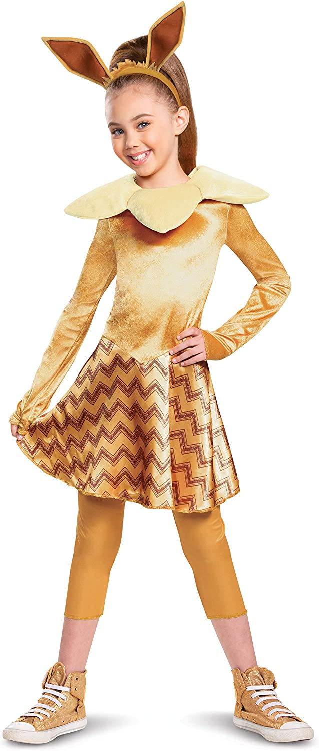 Girls Deluxe Character Outfit Disguise Pokemon Eevee Costume for Kids Child Size Large 10-12 Brown