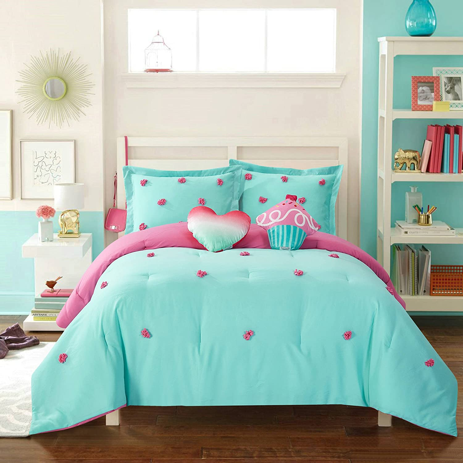 Adorable, Soft, Durable and Easy to Maintain Better Homes and Gardens Kids Pom Pom Comforter Set, Aqua/Blue, Pink, Full/Queen