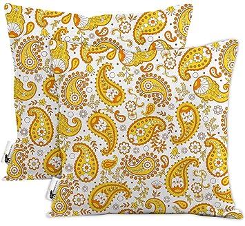 Amazon Com Orange Boho Paisley Waterproof Outdoor Throw Pillows