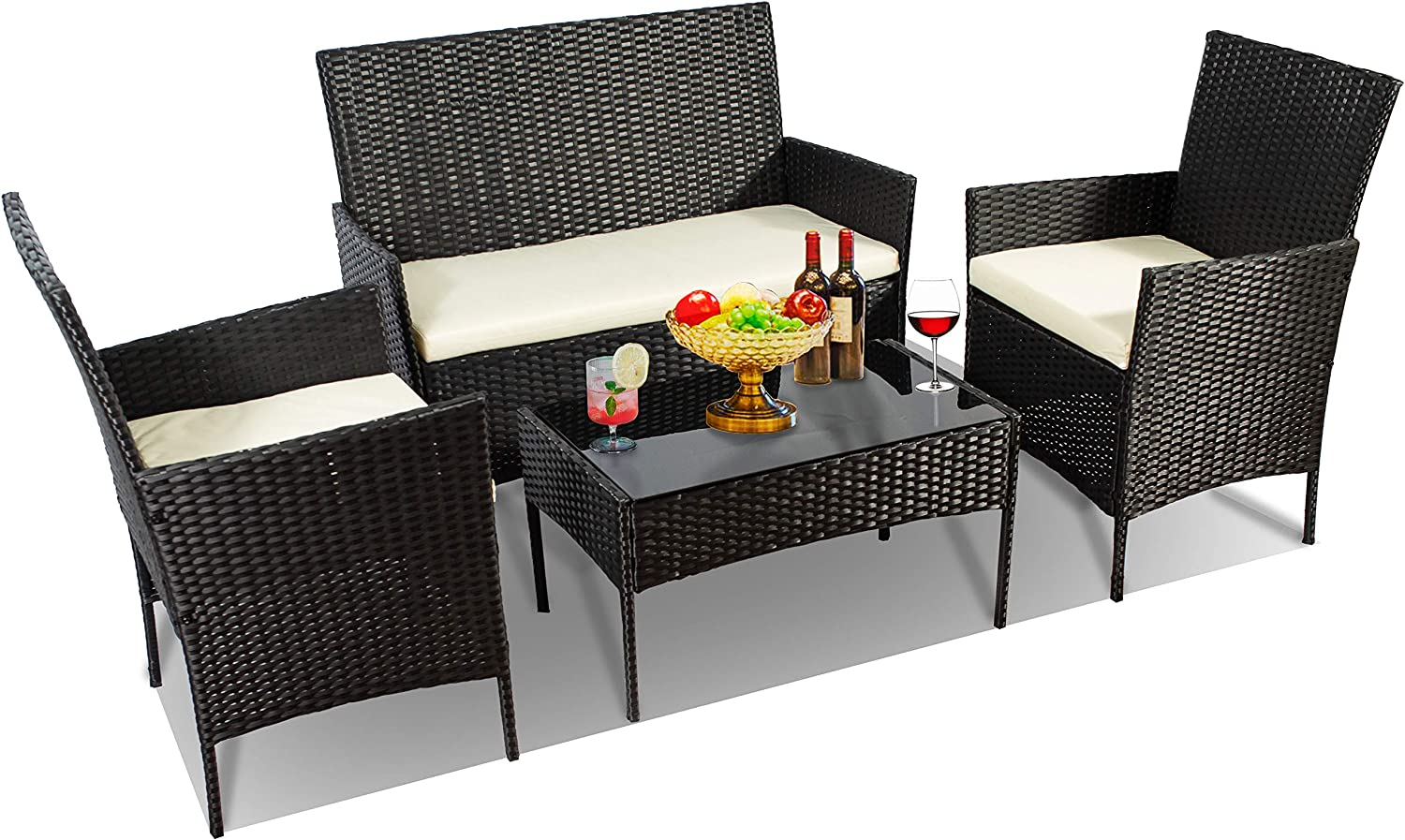 4 PC Wicker Patio Outdoor Furniture Conversation Sets, 2-Single Chairs 1-Piece Love Seat and Glass Coffee Table with Cushion Rattan Deck Set for Bistro Porch Yard Balcony Lawn (Black-Beige)