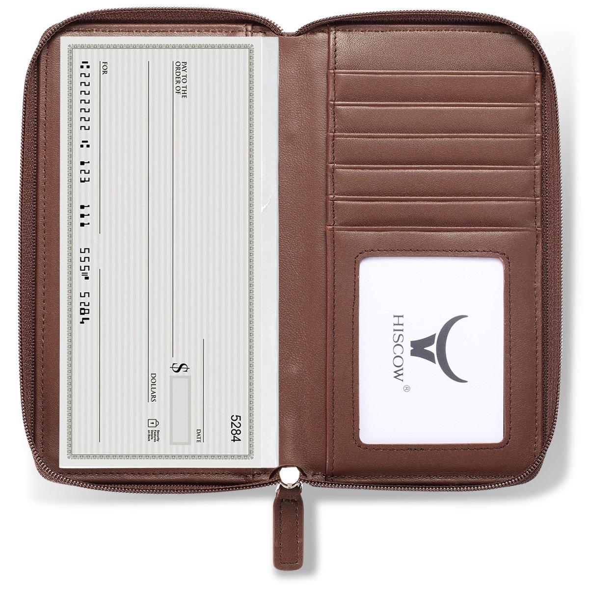 HISCOW Zippered Checkbook Cover /& Card Holder with Divider Italian Calfskin Premium Dark Green