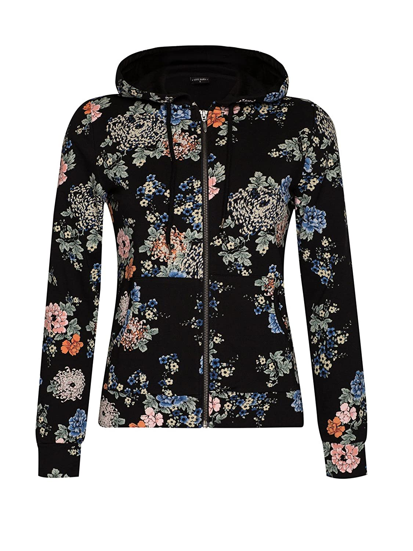 Vive Maria Flower Homewear Kapuzenjacke schwarz Allover-Print