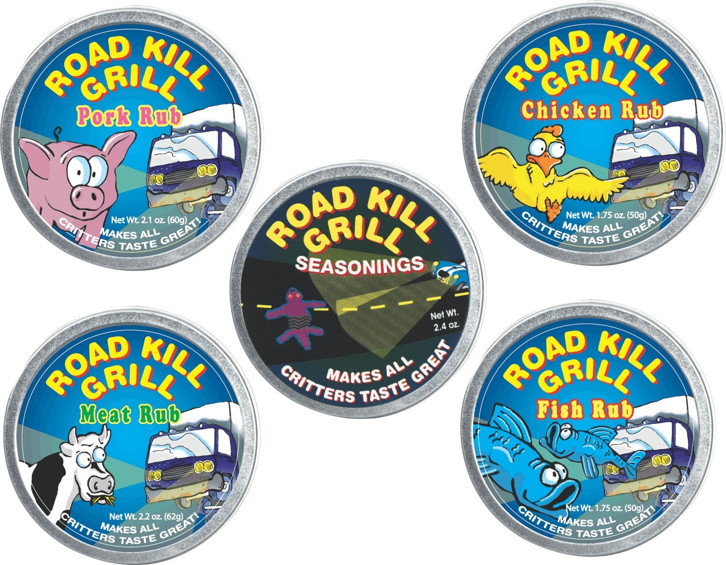 5 piece Dean Jacob's Road Kill Grill Tin Collection