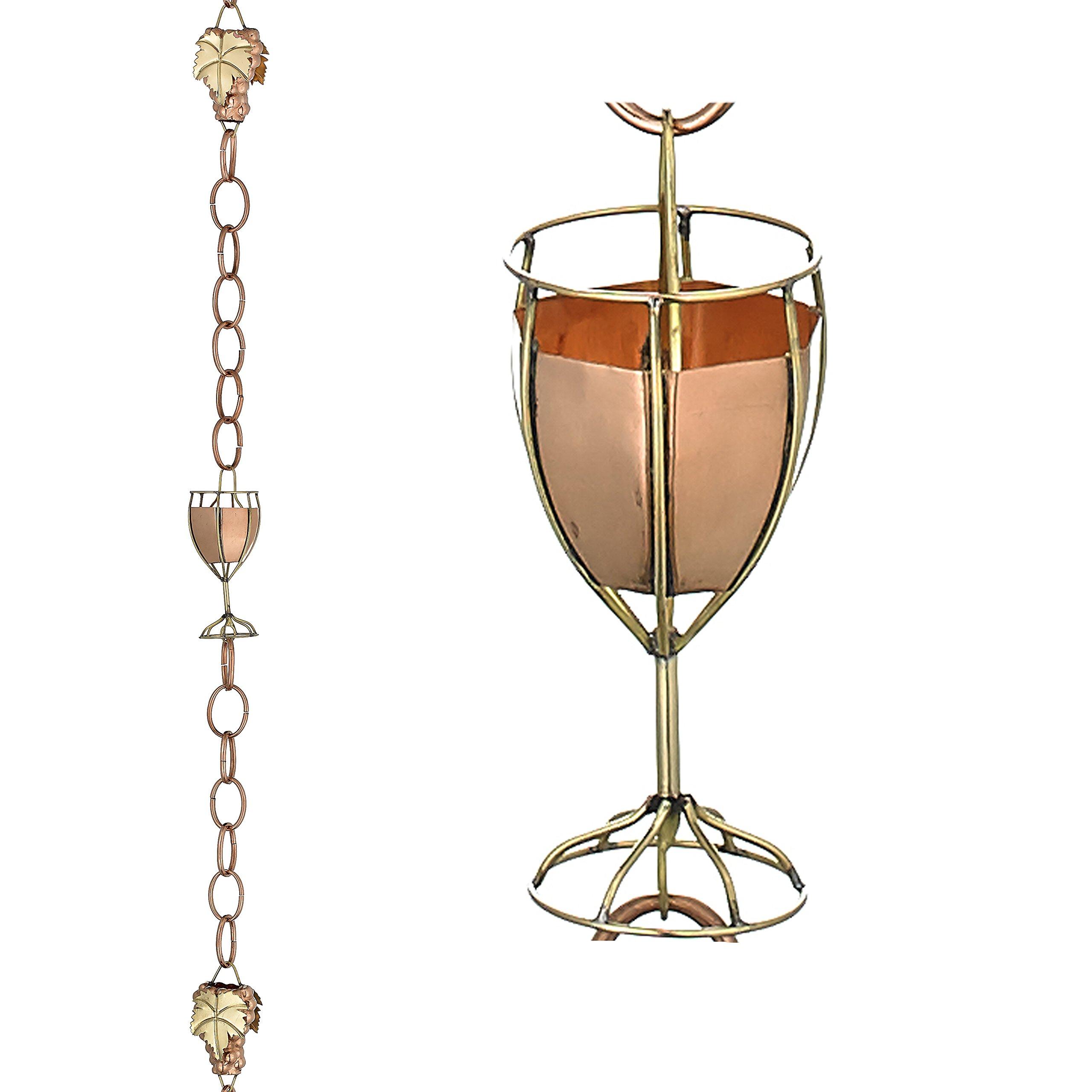 Good Directions Wine and Glasses Pure Copper 8.5-Foot Rain Chain