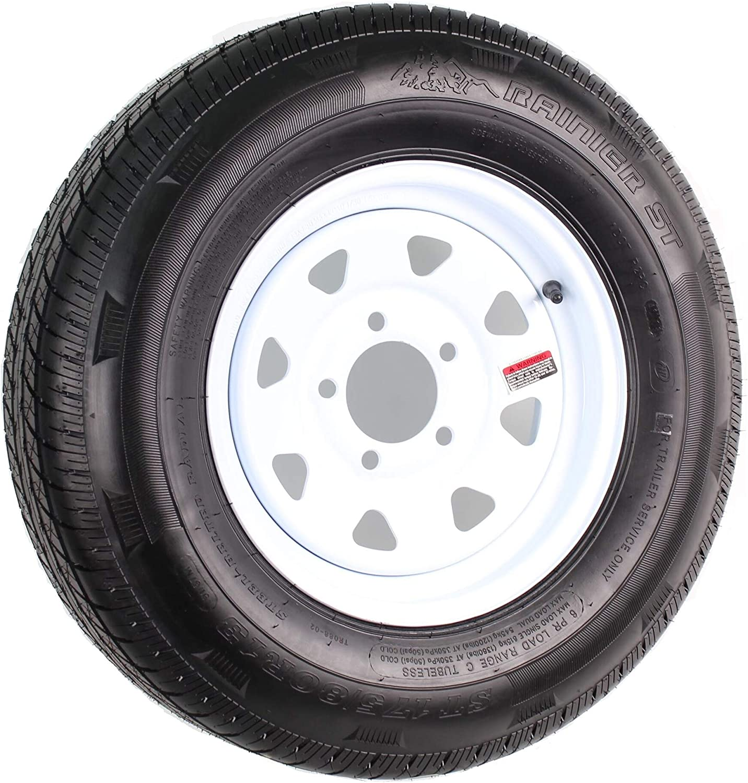 "13/"" White Spoke Trailer Wheel with bias ST175//80D13 Tire Mounted bolt 5x4.5"