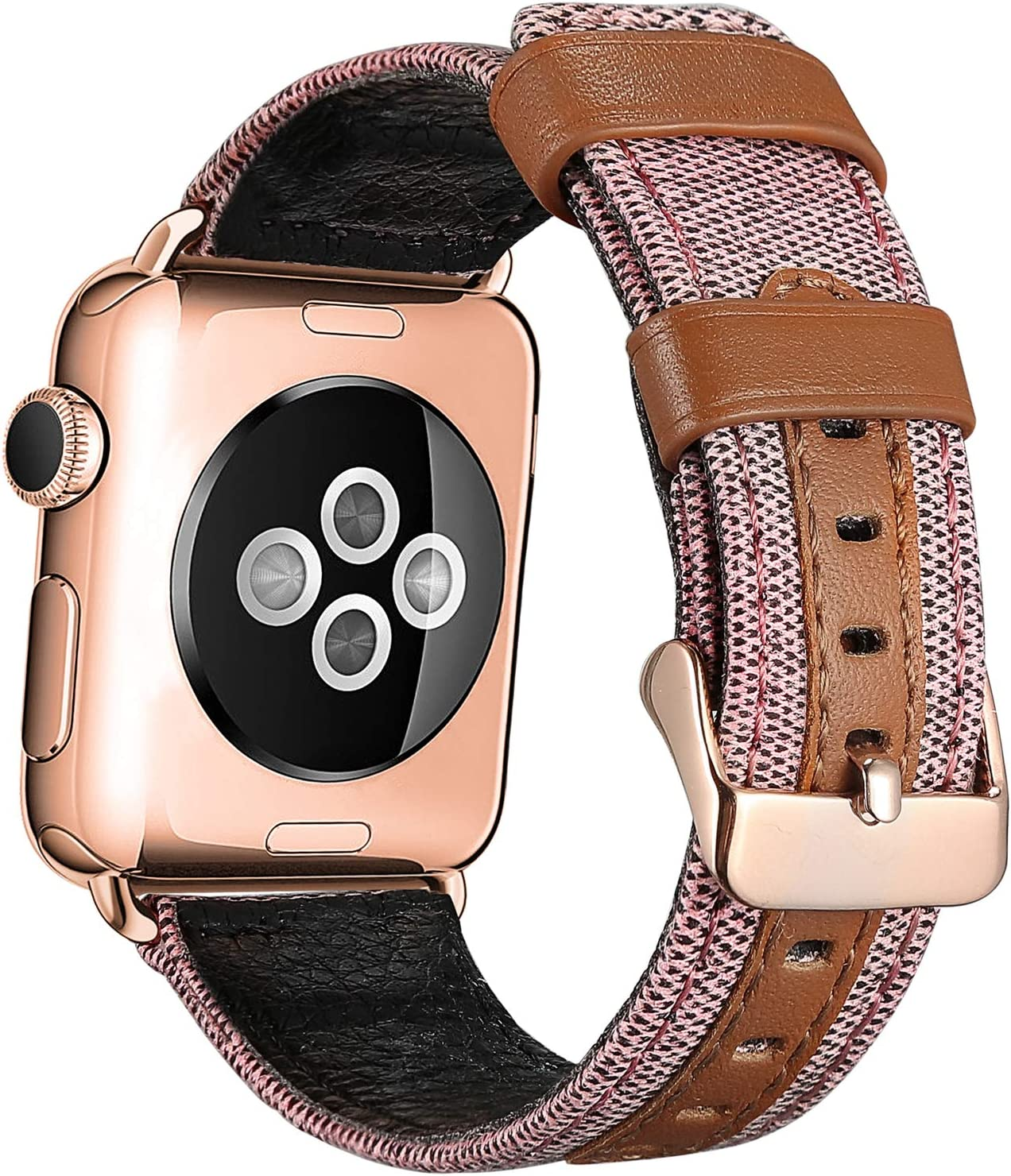 SKYLET Compatible with Apple Watch Bands 44mm 42mm 40mm 38mm Leather Bands, Canvas Fabric Soft Wristbands Compatible with Apple Watch Series 6/5/4/3/2/1/se Men Women Pink