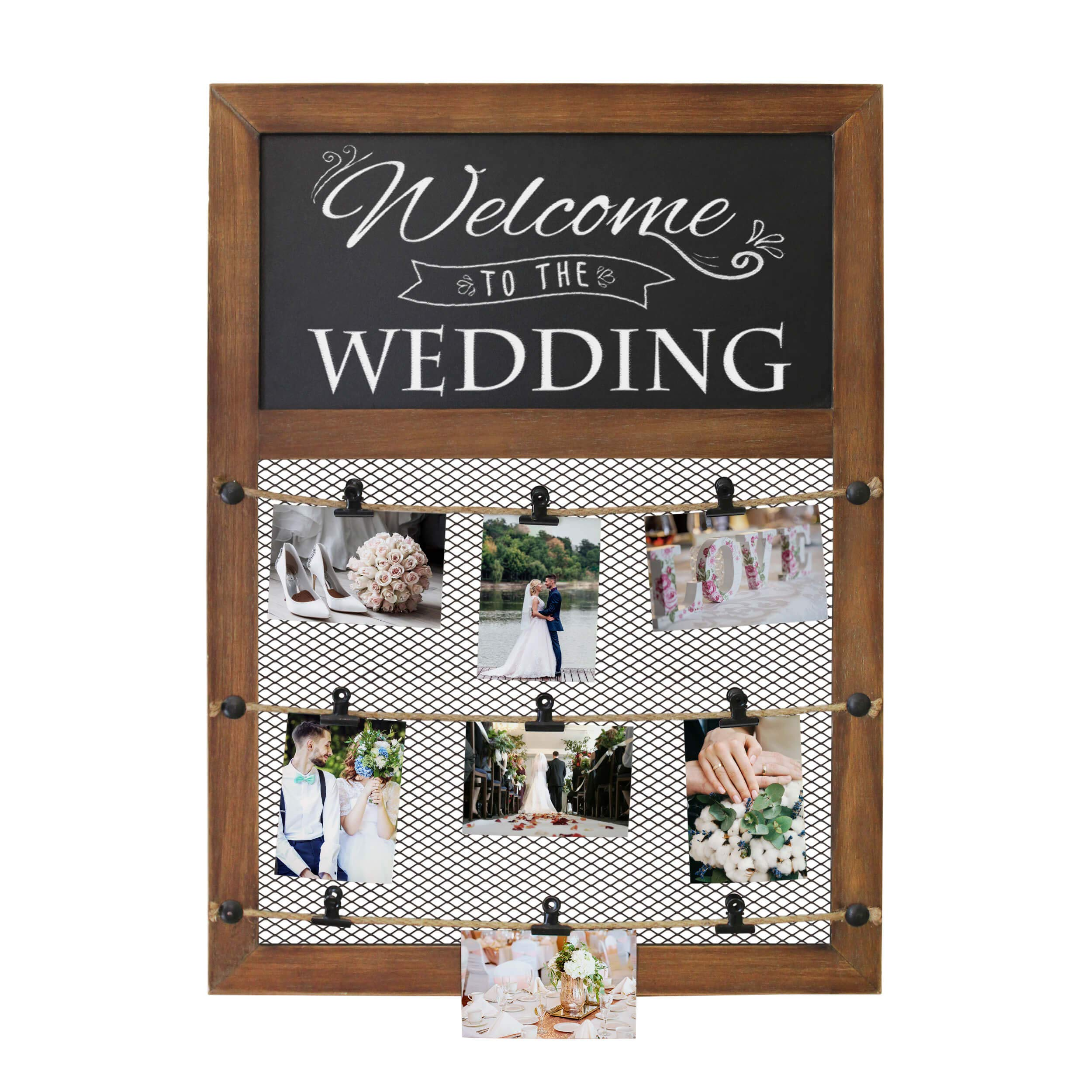 Rustic Wall Mounted Picture Display Frame With Chalkboard Sign & 9 Bulldog Picture Clips - 20x30 Inch Wall Chalkboard With Picture Grid For Displaying picture collage. Photo Board for polaroids & more by HBCY Creations