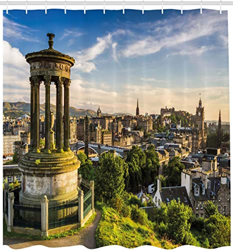 Amazon Com Ambesonne Cityscape Shower Curtain Edinburgh Town Aerial View Of Historical Buildings Heritage Panorama Art Fabric Bathroom Decor Set With Hooks 105 Inches Extra Wide Fern Green Blue Tan Home Kitchen