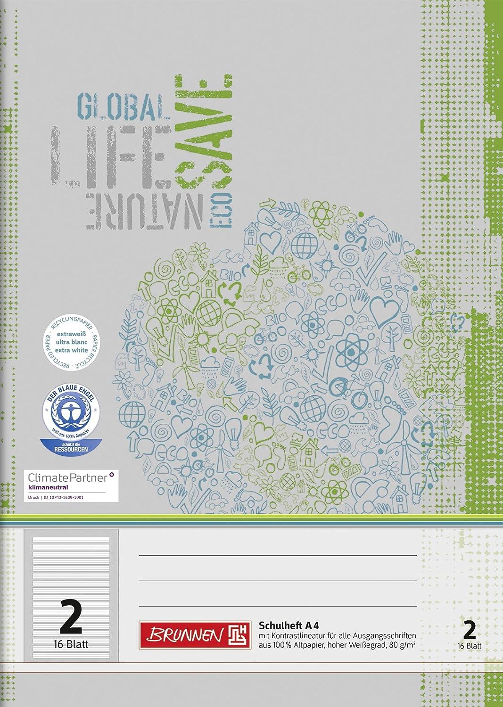 Brunnen 104418201 Recycling-Schulheft DIN A4 (16 Blatt, einfaches Heft) Baier & Schneider GmbH & Co. KG