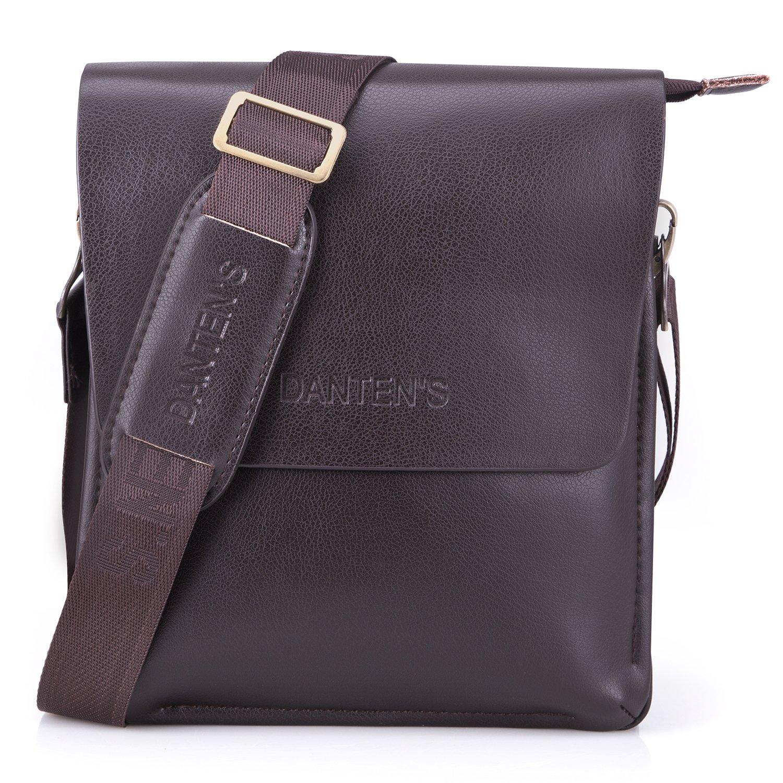 Bienna Men Bags Crossbody Shoulder Bag Brown Genuine Leather Business Messenger Bag for Work Travel Office-Vertical