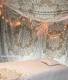 Metallizzato Lucido Golden handgefertigt Twin Tapisserie von raajsee, Ombre letti, Mandala Arazzo, Multi Colore indiano Mandala parete Arte Hippie Arazzo Bohemian