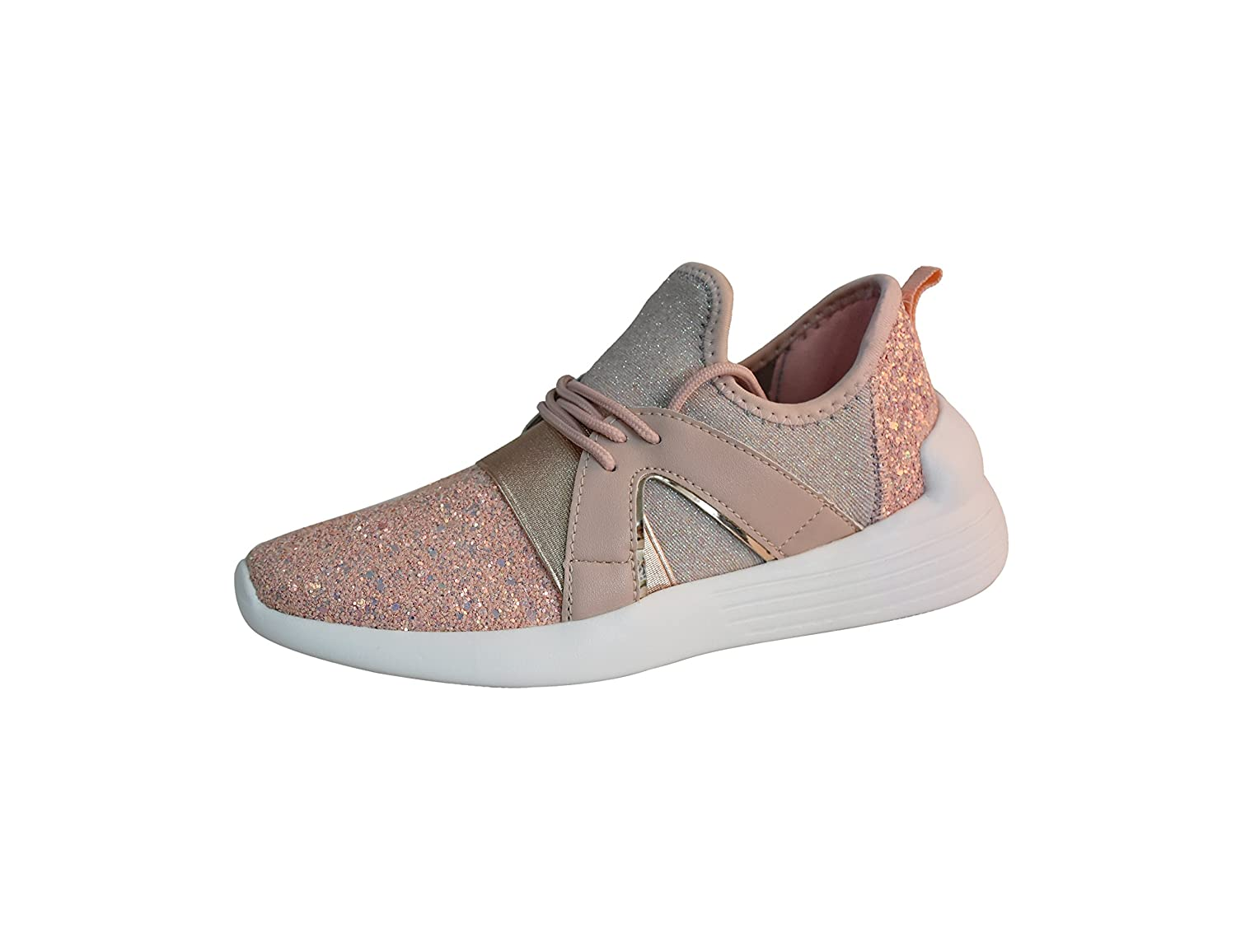 ROXY ROSE Women Glitter Sneakers Casual Quilted Lace up Sparkly Sports Running Shoes B07BRK9733 9 M US|Dusty Rose