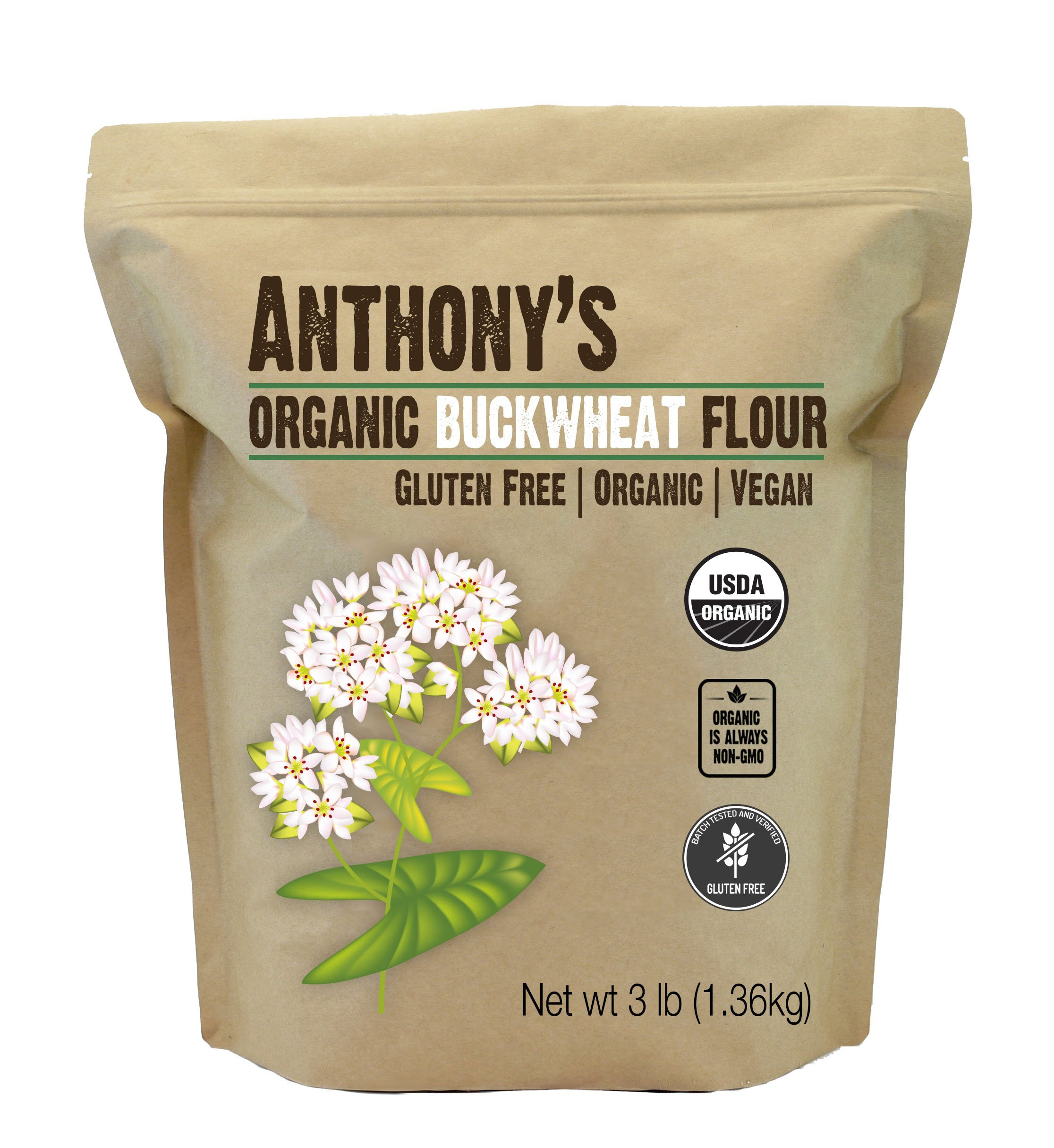 Anthony's Organic Buckwheat Flour (3lb), Grown in USA, Gluten Free, Vegan
