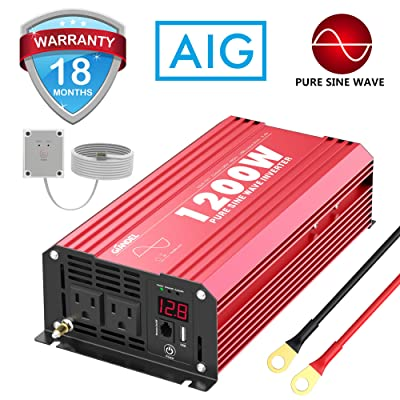 1200Watts Pure Sine Wave Power Inverter DC 12V to AC 120V with Remote Control USB Port & LED Display for RV Laptop CPAP & Emergency: Car Electronics