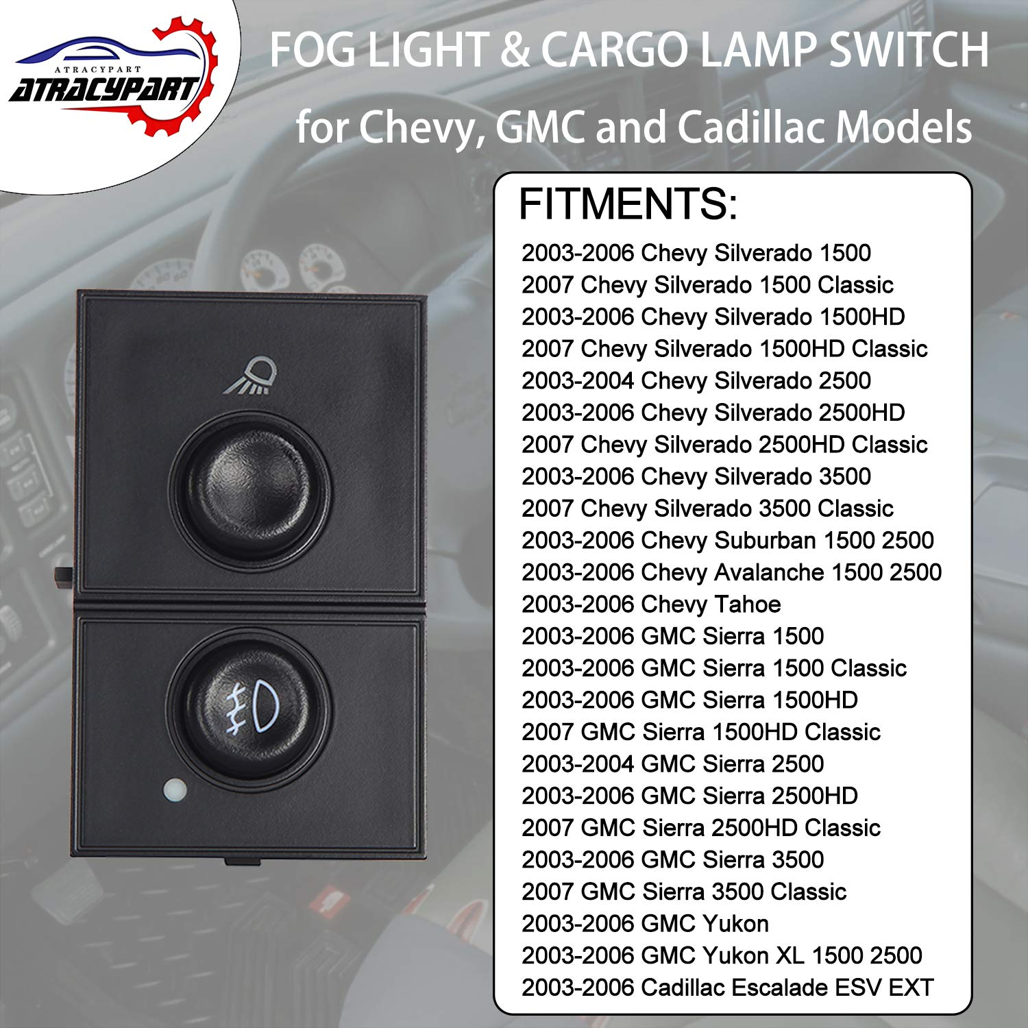 New Headlight Fog Light Switch For 2007-14 Chevy Avalanche Tahoe GMC Sierra 1500 2500 Yukon 15096895,15926099