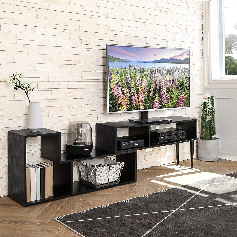 TV Unit en Bois pour T/él/évision Jusqu/à 60 Pouces Bureau Noir Salon FITUEYES Meuble TV Console Polyvalente Centre de Divertissement Moderne pour TV /à /écran Plat Bo/îte /à c/âble Consoles de Jeu