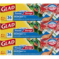 3-Pk. Glad Food Storage and Freezer 2 in 1 Zipper Bags