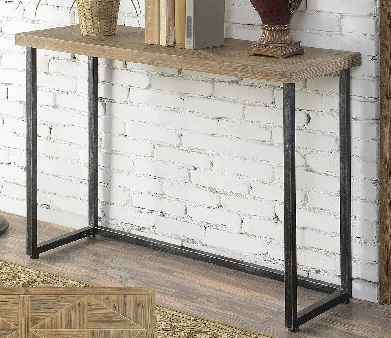Convenience Concepts Laredo Parquet Console Table, Natural and Black 413899