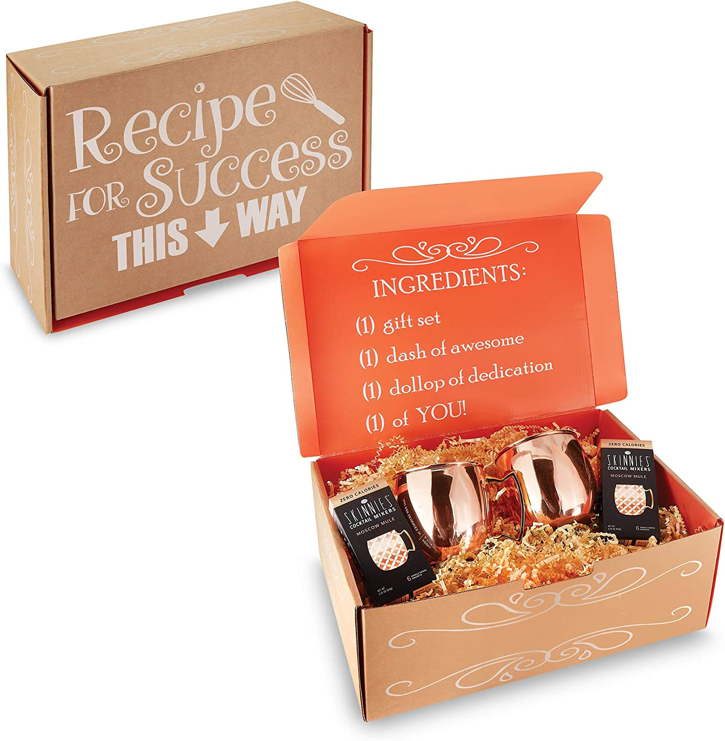 Gordon Sinclair Moscow Mule Mixer - The Mixer Gift Set Includes 2 x 18 oz Moscow Mules - 2 Boxes of Cocktail Mixers & is Packaged in a Festive Kraft Orange Gift Box - Valentines Day Gift Set