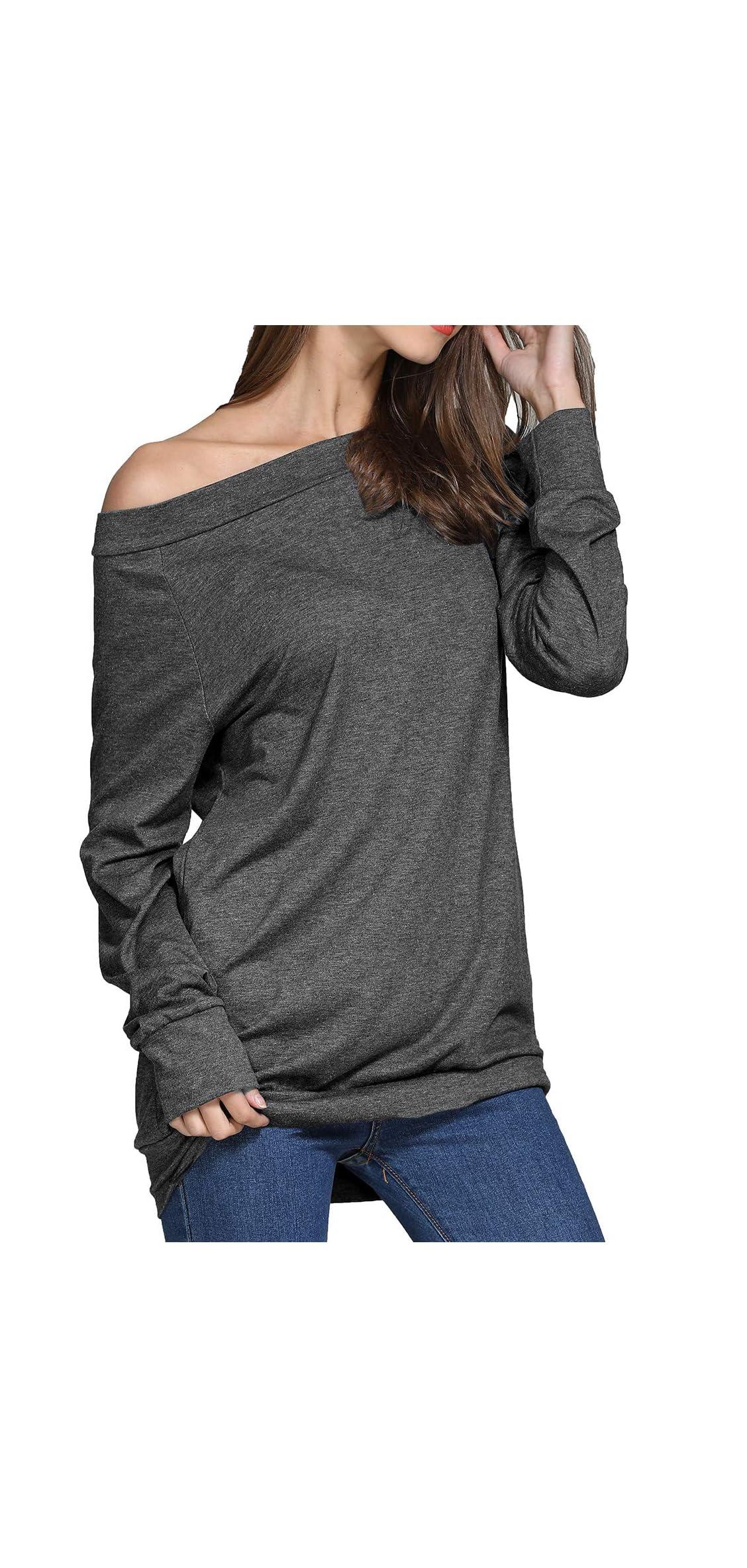 Women Boat Neck Off Shoulder Shirt Long Sleeve Pockets