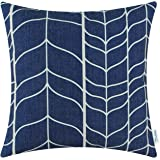 CaliTime Cushion Cover Throw Pillow Case Shell Chevron Stem Panels Geometric 18 X 18 Inches Navy Blue