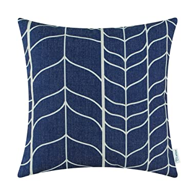 CaliTime Canvas Throw Pillow Cover Case for Couch Sofa Home Decoration Modern Chevron Stem Panels Geometric 18 X 18 Inches Navy Blue