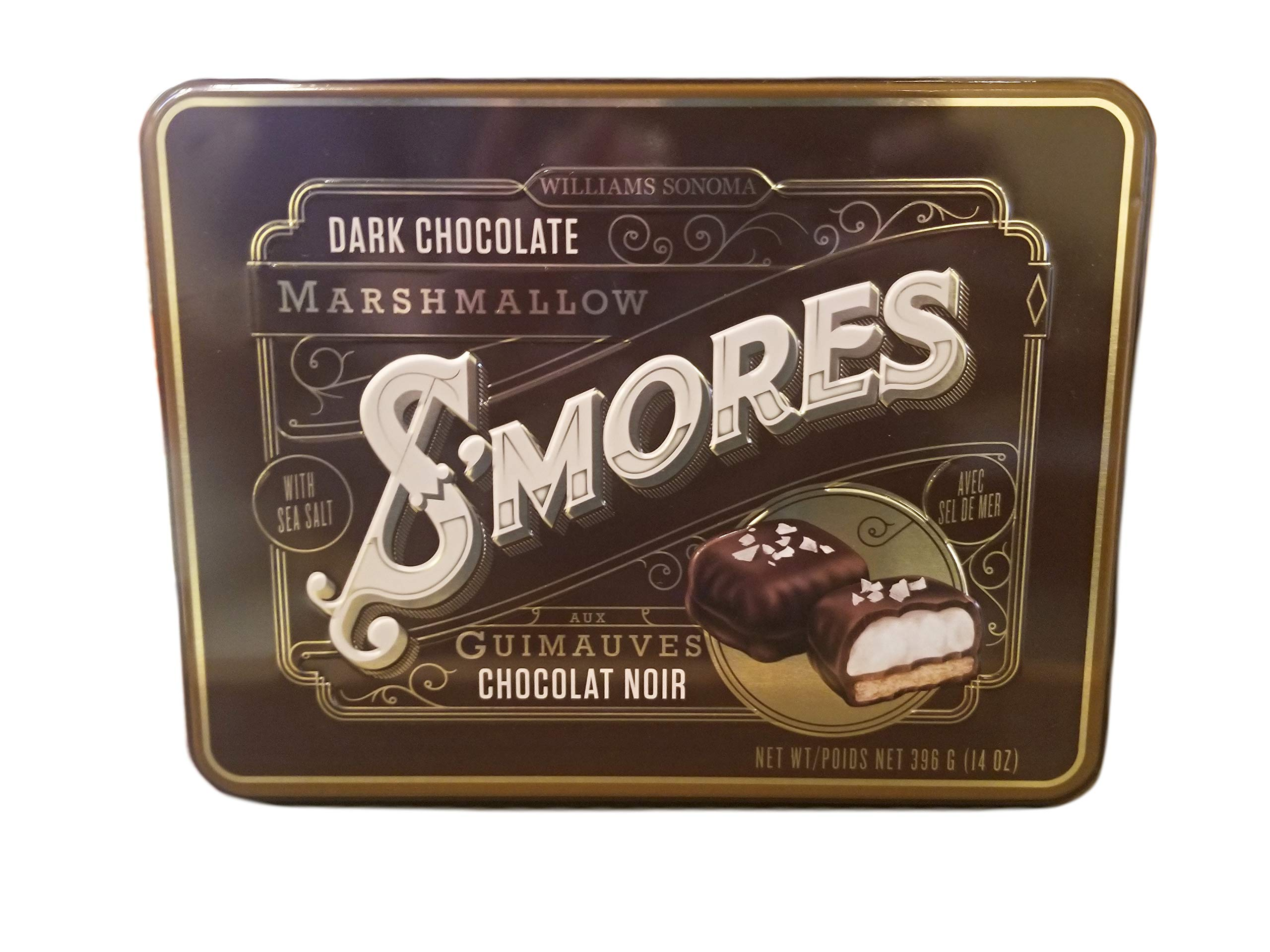 Williams Sonoma Dark Chocolate S'mores with Sea Salt Guittard Gourmet Sweets - 14 oz. Tin by FCV