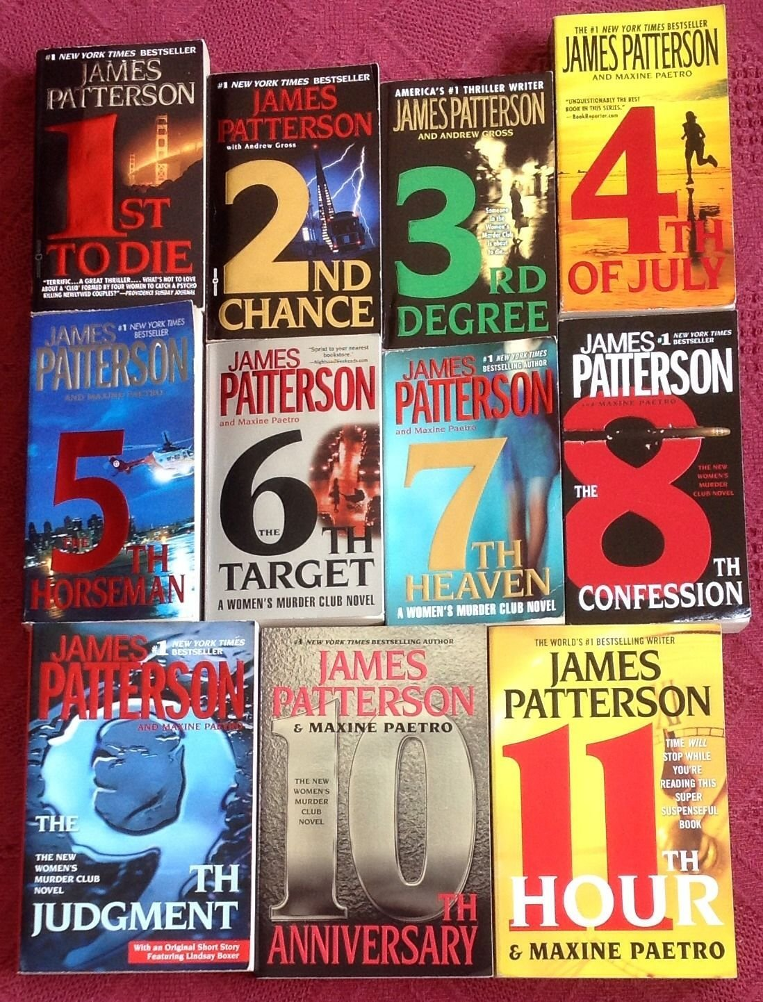 Complete Woman's Murder Club Set Vol 1-11 :(1st to Die, 2nd Chance, 3rd  Degree, 4th of July, 5th Horseman, 6th Target, 7th Heaven, 8th Confession,  ...