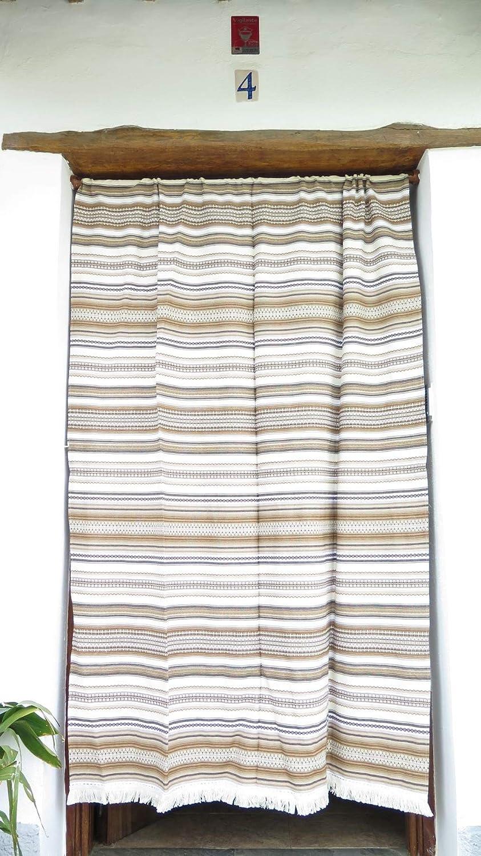 Cortina Alpujarreña Rustica,(160 x 215 cm), Variedad marrón Color 120 Hecha en España, Fibra Natural de algodón - Cortina para Puerta Exterior mosquitera y Parasol + Alfombra Jarapa de algodón